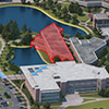 3d model of UNF campus with business building highlighted.