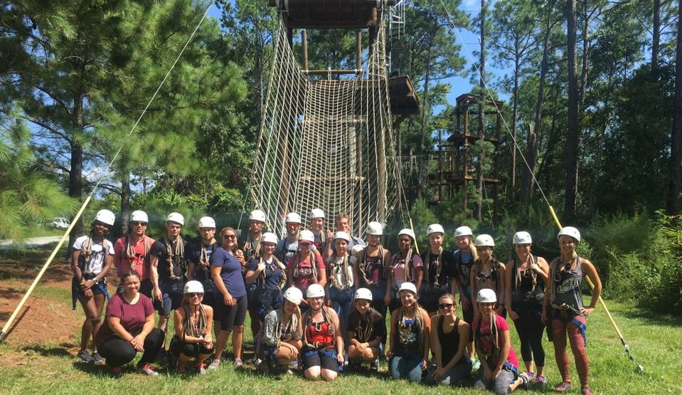 Group photo of students at zipline course