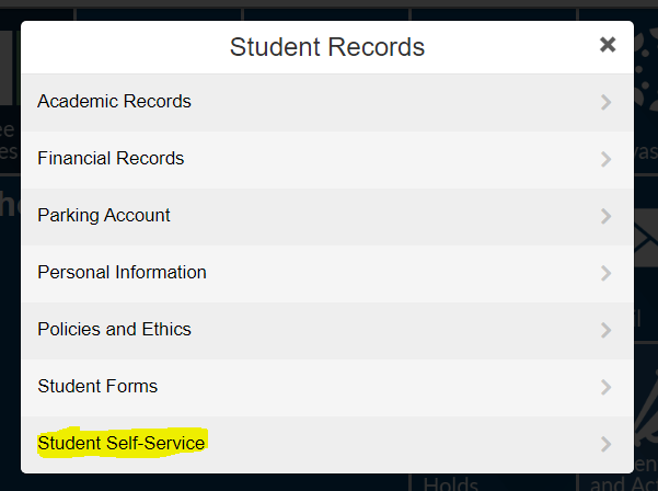 Student self service link highlighted