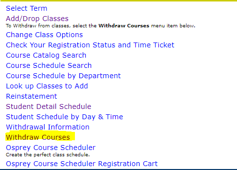 Withdraw courses link highlighted