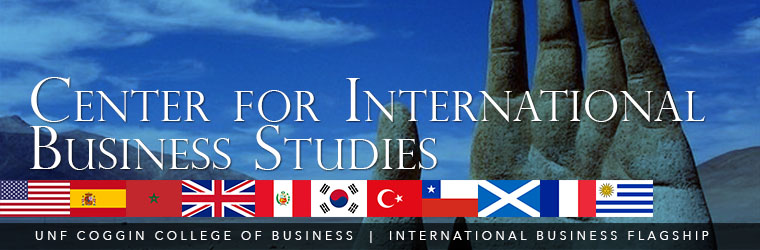 Center for International Business Studies banner with flags of many different nations