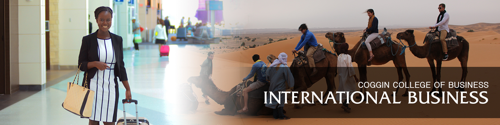 international business female student in airport and other students in camels in the desert