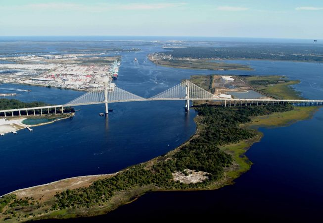 aerial view of a Jacksonville Bridge