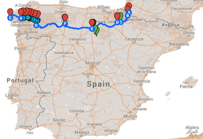 map of Spain with pilgrimage trail marked