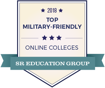 2018 Top Most Affordable Military Friendly Online College Badge