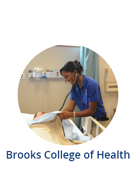 Nursing student in class and text Brooks college of health