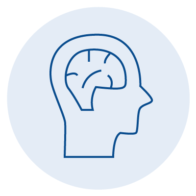 blue icon of a brain