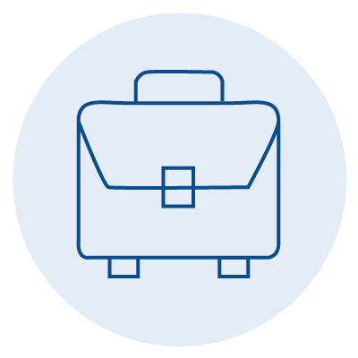 blue icon of a briefcase