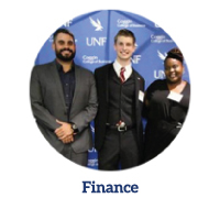 Finance program link - Three finance students smiling at the camera