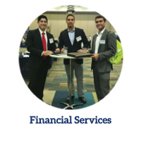 Financial Services link - Three male students networking at an event