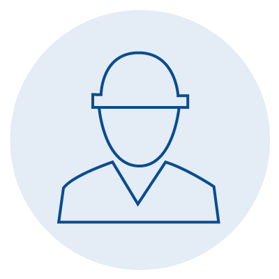 blue icon of a figure in a hard hat