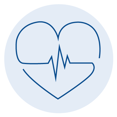 blue icon of a heart with a pulse spiked line in the middle of it