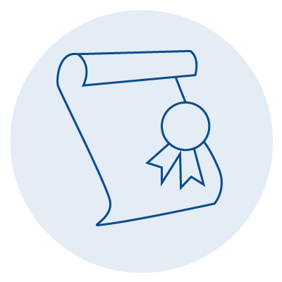 blue icon of a paper with a ribbon award on it