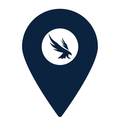Map location icon with UNF logo on it
