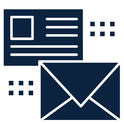 An icon of a postcard and envelope in dark blue