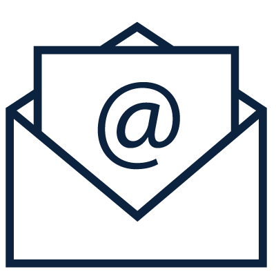 Envelope icon with an AT symbol on it