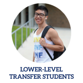 lower level transfer student link with male student posing with backpack