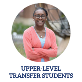 Upper Level Transfer Students link with female student posing with pink sweater