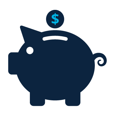 Icon of a piggy bank with a dollar going in it