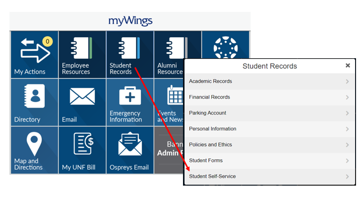 Mywings homepage and student records tile