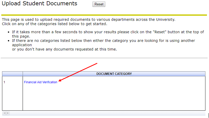 Financial Aid Verification Link on Upload Student document page