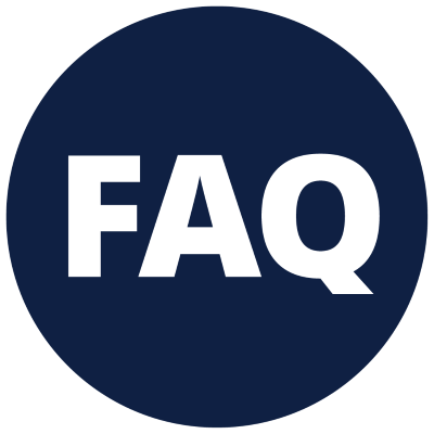 FAQ with a blue background
