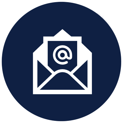 blue circle with email icon
