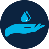 Icon of a hand under water