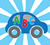 Illustration of a car with ABC letters on it with a blue and white background.