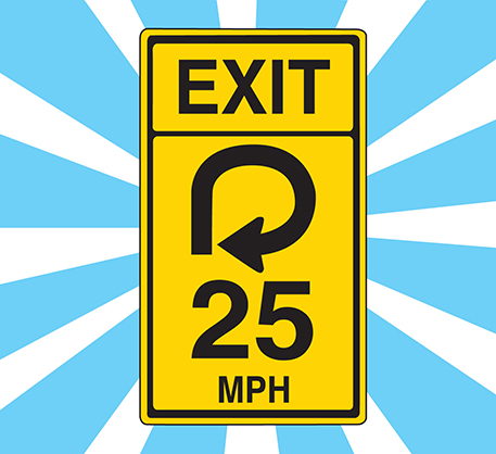 Illustration of a road exit sign on a blue and white background.