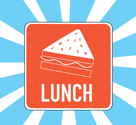 Illustration of a sign with a sandwich and the word lunch on a blue and white background.