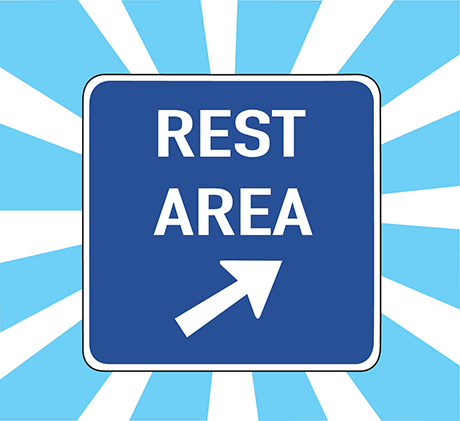 Illustration of a road rest area sign with a arrow on it on a blue and white background.