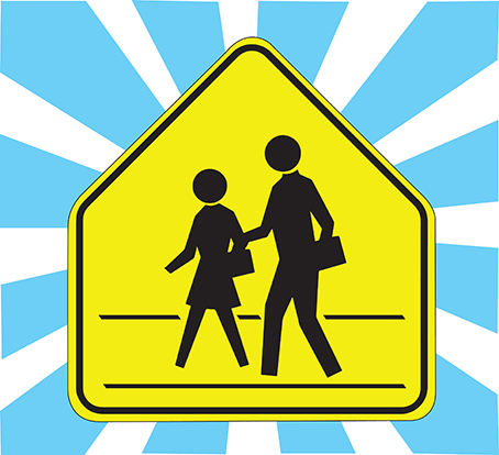 Illustration of a school zone road sign on a blue and white background.