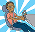 Illustration of boy driving on a blue and white background.