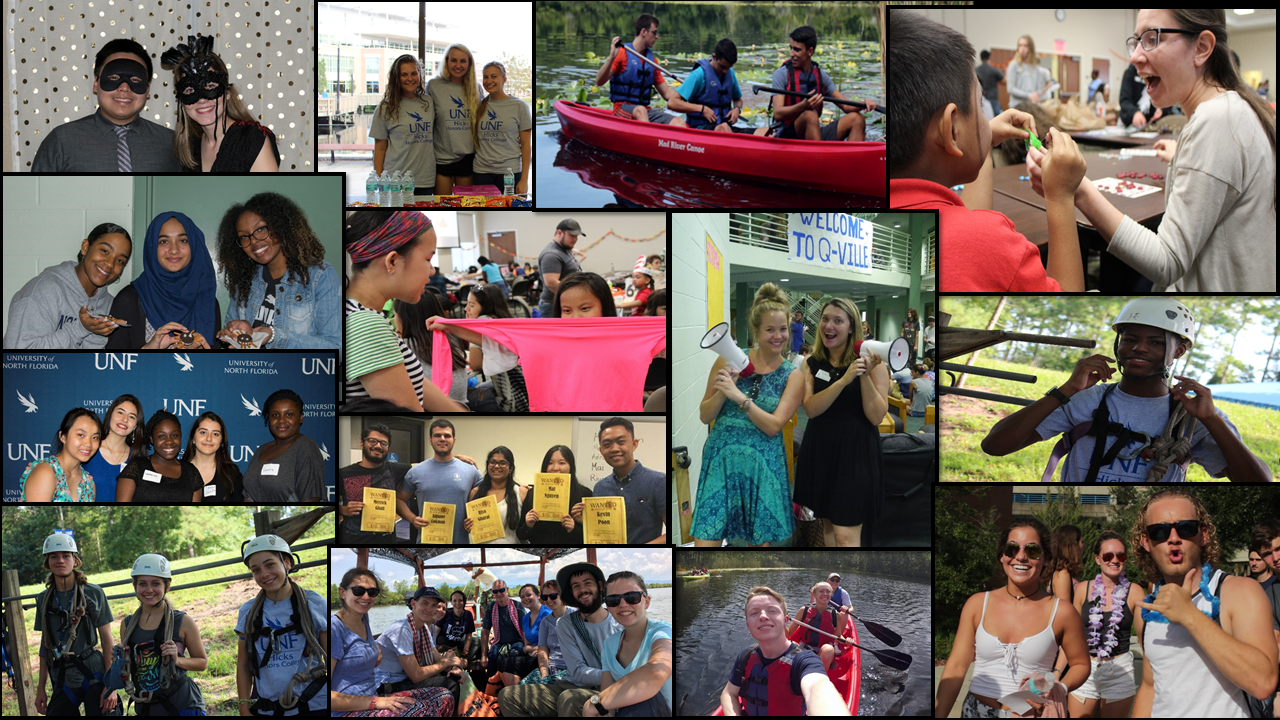 Collage of Honors students participating in Honors events and study abroad