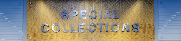 Entrance sign to Special Collections