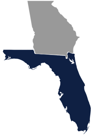 Icon of Georgia and Florida state outlines with Jacksonville marked