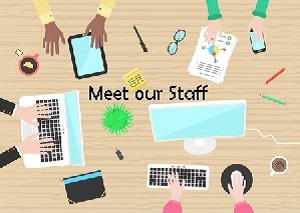 animated hands and laptops with the words - meet our staff - on it