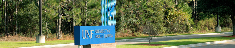 University of North Florida campus sign at the Central Parkway entrance location