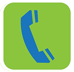 Blue telephone on a green background