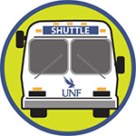 Shutttle bus with UNF logo inside a green circle