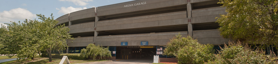 The front side of the Arena Garage also called Garage 38 located across from the Arena, Building 34