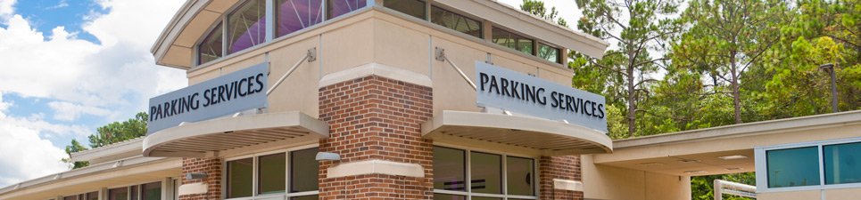 The front side of Parking Services Building, Building 52