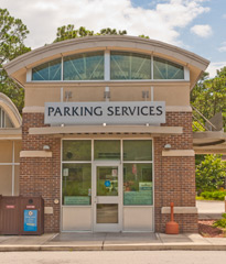 Front side of Parking Services, Building 52