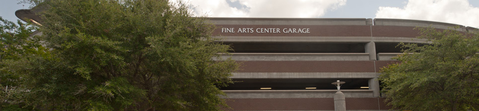 The front side of the Fine Arts Center Garage also called Garage 44 located next to the Fine Arts Center, Building 45