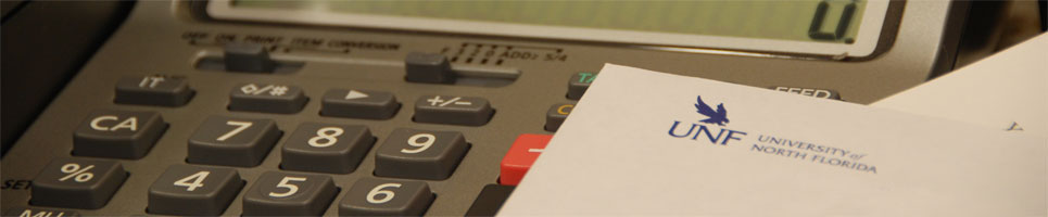 UNF letter head on top of calculator