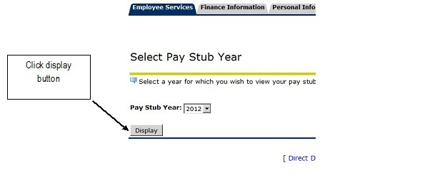 UNF select pay stub year with display button highlighted