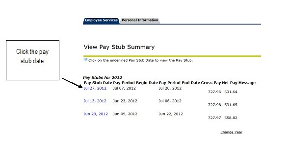 UNF view paystub summary page with pay stub date highlighted