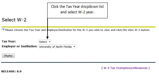 Select W2 menu with tax year drop down box highlighted