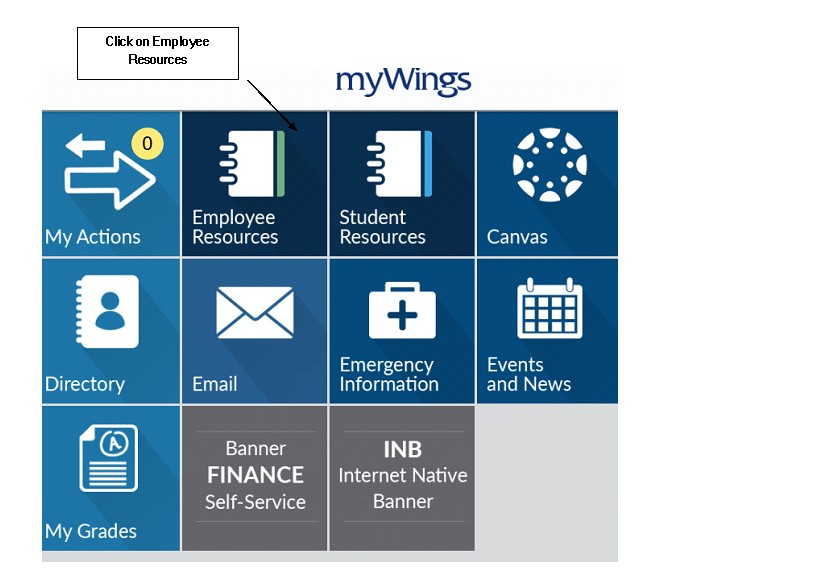UNF myWings tiles with employee resources highlighted